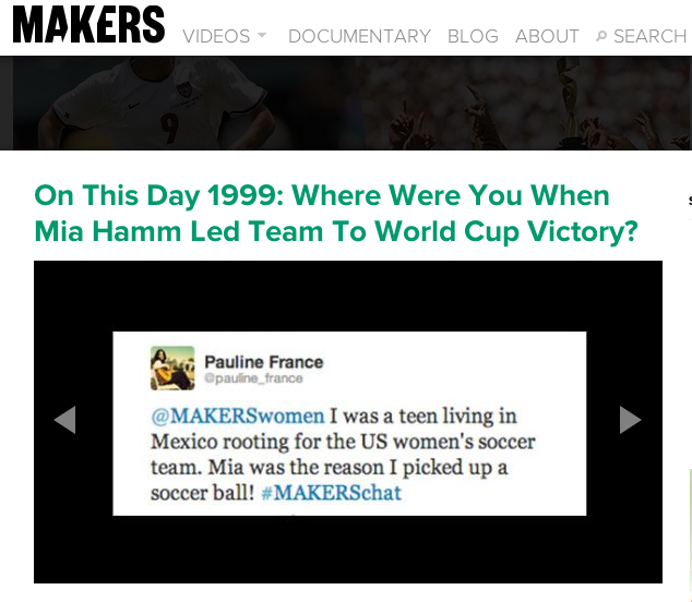 MAKERS.com Pays Homage to Mia Hamm, Picks Up My Tweet
