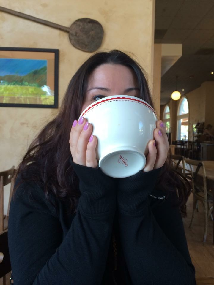 Me inhaling a giant latte from La Boulange in Lafayette, Calif.